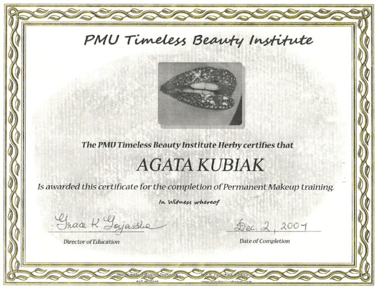 Permanent Makeup Training Certificate