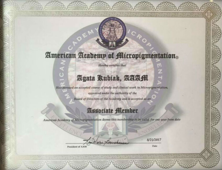 American Academy of Micropigmentation Certificate