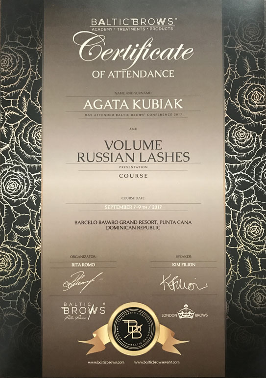 Certificate Of Attendance Baltic Brows Conference And Volume Russian Lashes Course