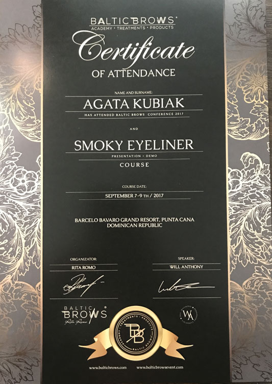 Certificate Of Attendance Baltic Brows Conference And Smoky Eyeliner Course