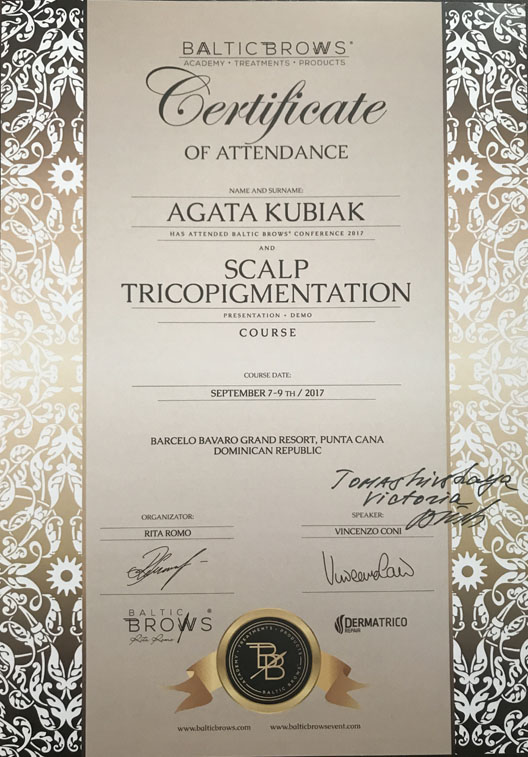 Certificate Of Attendance Baltic Brows Conference And Scalp Tricopigmentation Course