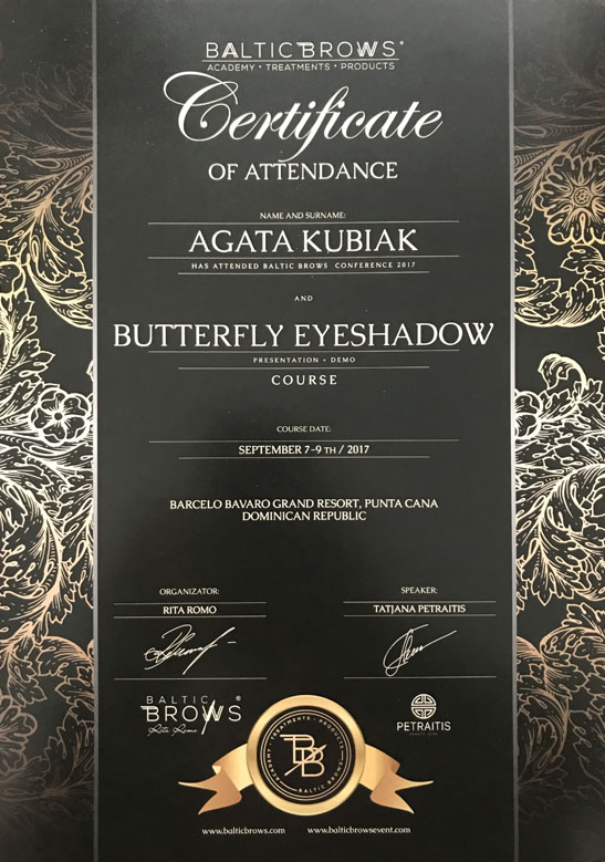 Certificate Of Attendance Baltic Brows Conference And Butterfly Eyeshadow Course