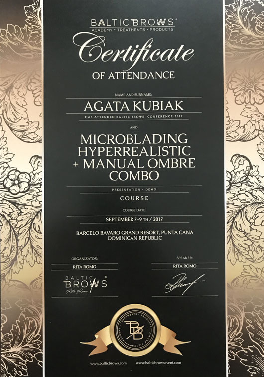Certificate Of Attendance Baltic Brows Conference And Microblading Hyperrealistic + Manual Ombre Combo Course
