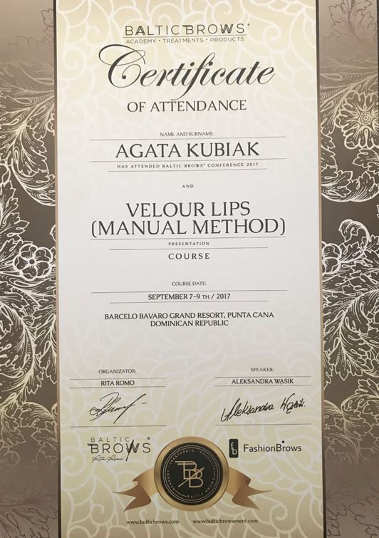 Certificate Of Attendance Baltic Brows Conference And Velour Lips (Manual Method) Course