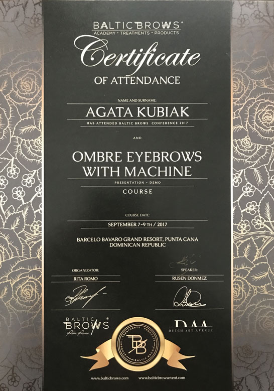 Certificate Of Attendance Baltic Brows Conference And Ombre Eyebrows With Machine Course