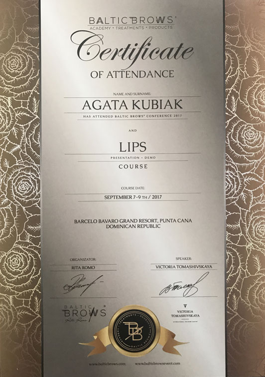 Certificate Of Attendance Baltic Brows Conference And Lips Course