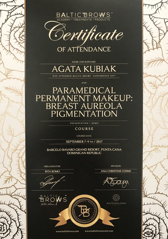 Certificate Of Attendance Baltic Brows Conference And Paramedical Permanent Makeup: Breast Aureola Pigmentation Course