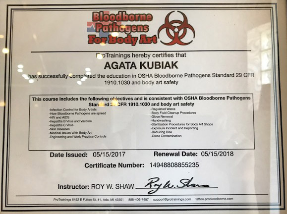 Bloodborne Pathogens For Body Art Certificate