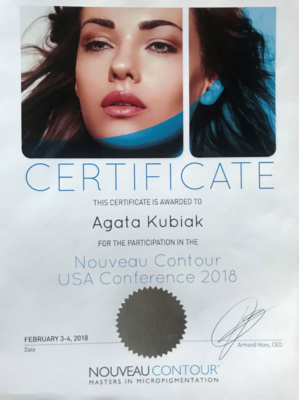 Cerificate For The Participation In The Nouveau Contour USA Conference 2018