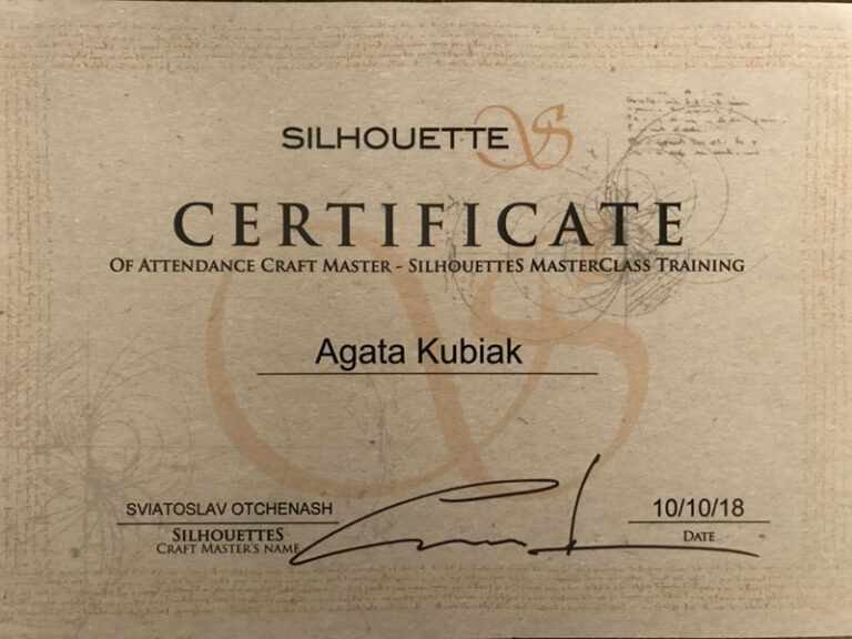 Certificate Of Attendance Craft Master - Silhouettes MasterClass Training