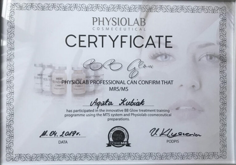 Physiolab Cosmeceutical Certificate