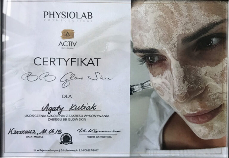 Physiolab Cosmeceutical Certifikat