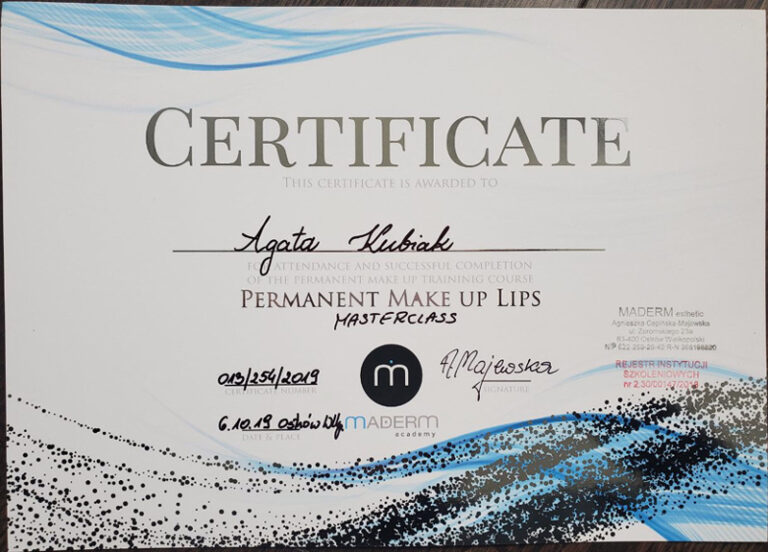 Permanent Makeup Lips Master Class Certificate