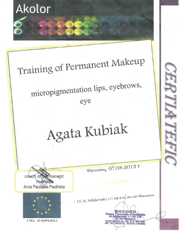 Training of Permanent Makeup Diploma