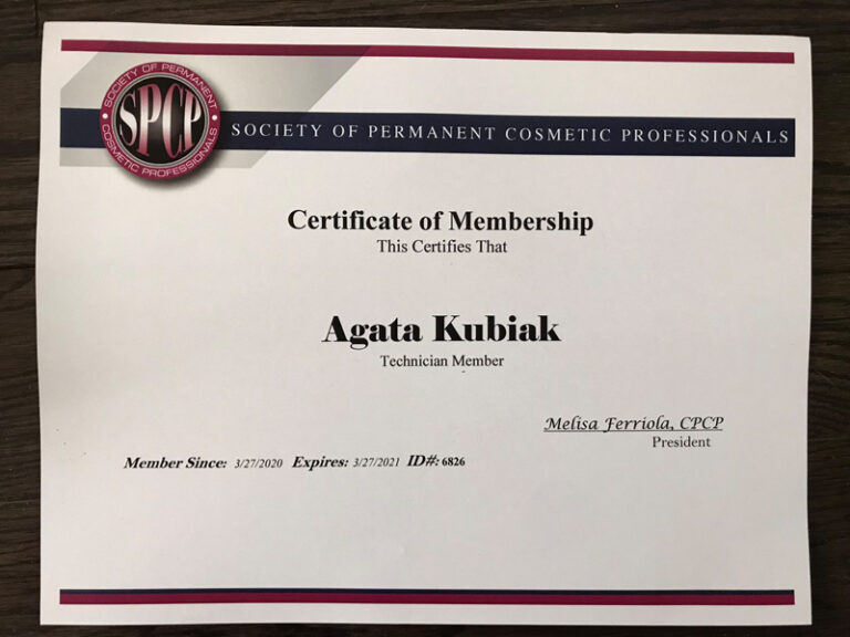 Society of Permanent Cosmetic Professionals Certificate of Membership