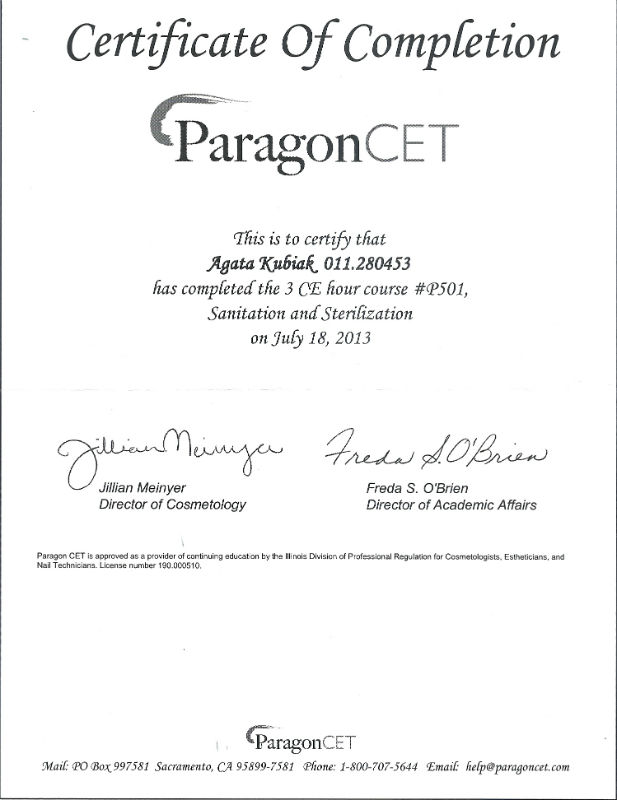 Certificate Of Completion Paragon CET