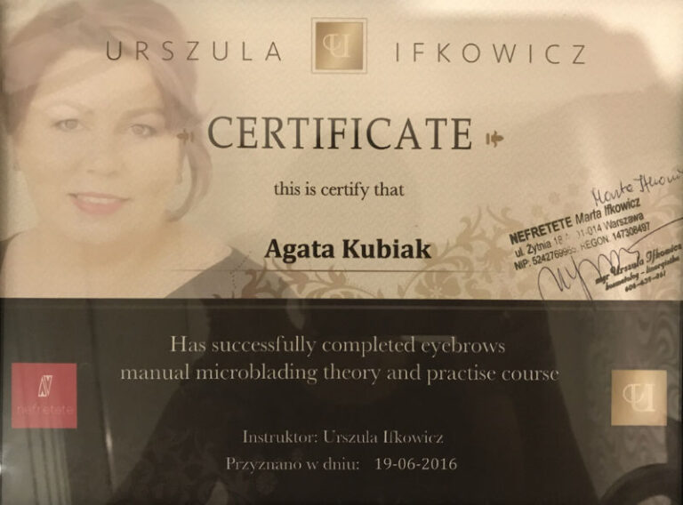 Certificate of Completion of Eyebrows Manual Microblading Theory and Practise Course