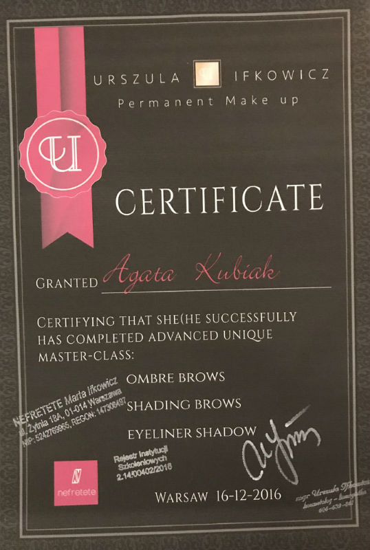 Certificate of Completion Advanced Unique Master-Class: Ombre Brows, Shading Brows, Eyeliner Shadow