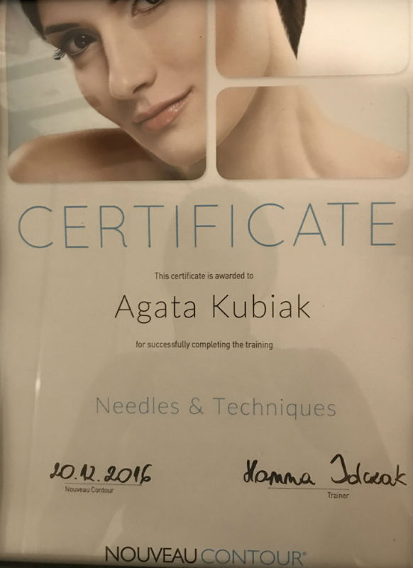 Certificate of Completing the Training Needles & Techniques