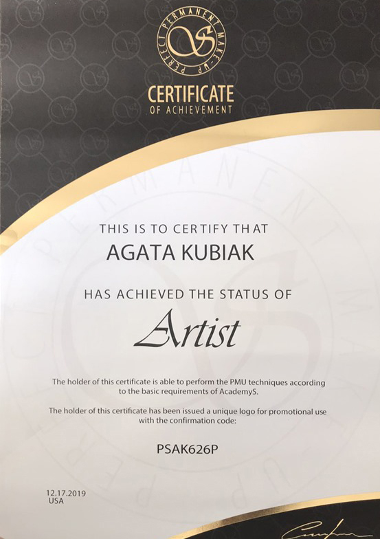 Certificate of Achievement the Status of Artist