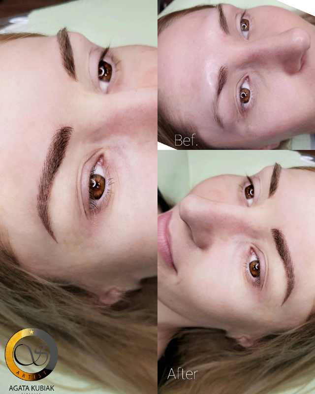 Microblading with shading eyebrows. Before and after.